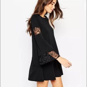 Women's Black Boho Swing Dress Size 8 Lace Sleeve